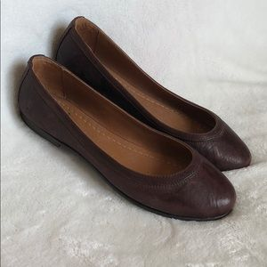 Frye Carson Ballet Flat Dark Brown Leather Sz 7.5